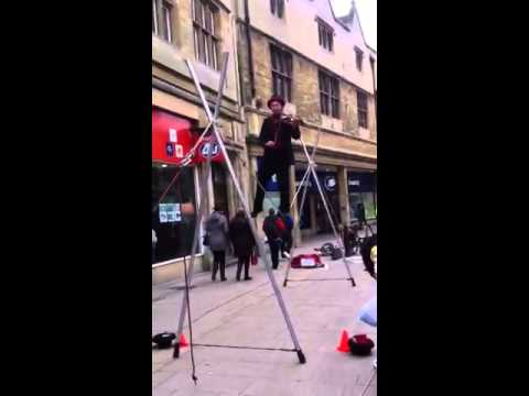 50 year old man busks in Cambridge, on tightrope!