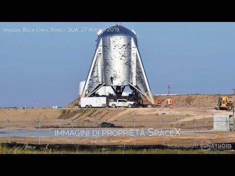 montaggio SunStudio - SpaceX lancio di prova Starhopper 29-8-19