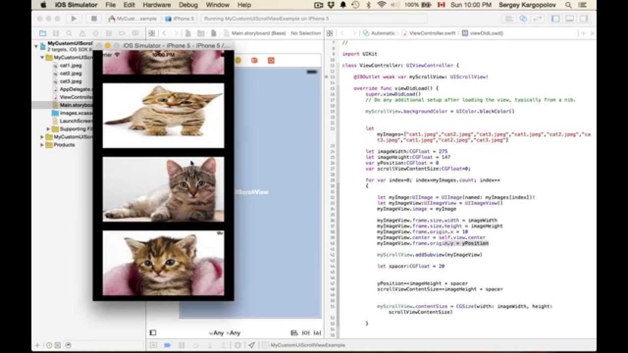 UIScrollView Programmatically Add UIImageView as SubView  Example in