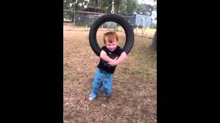 Landon On Tire Swing