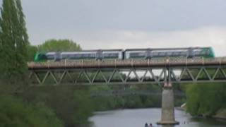 London Midland City Train Crossing Worcester River Severn Railway Bridge 3rd May 2010