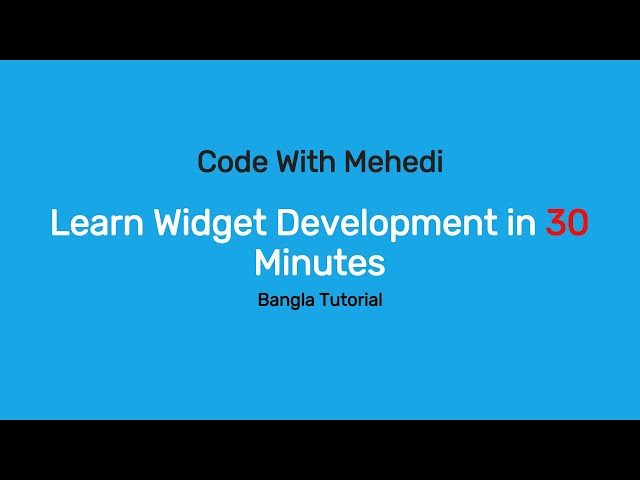 Learn WordPress Custom Widget Development in 30 minutes