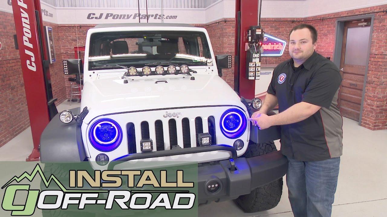 Jeep Wrangler JK Oracle Lighting Headlight LED Dual Projector 7  ColorSHIFT 2007-2018 Installation. CJ Off-Road  sc 1 st  YouTube & Jeep Wrangler JK Oracle Lighting Headlight LED Dual Projector 7 ...