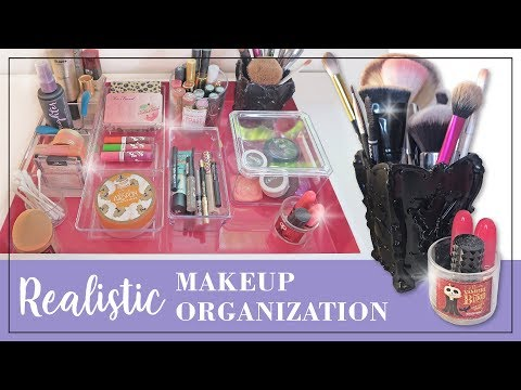 Realistic Makeup Organization & Declutter | Minimalist Makeup Collection | Cleaning Makeup Brushes