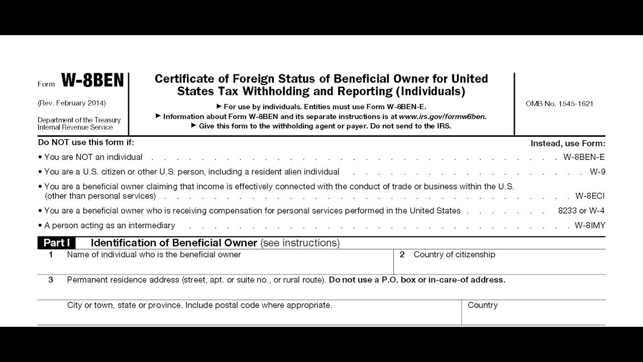 IRS Form W-8 BEN - YouTube