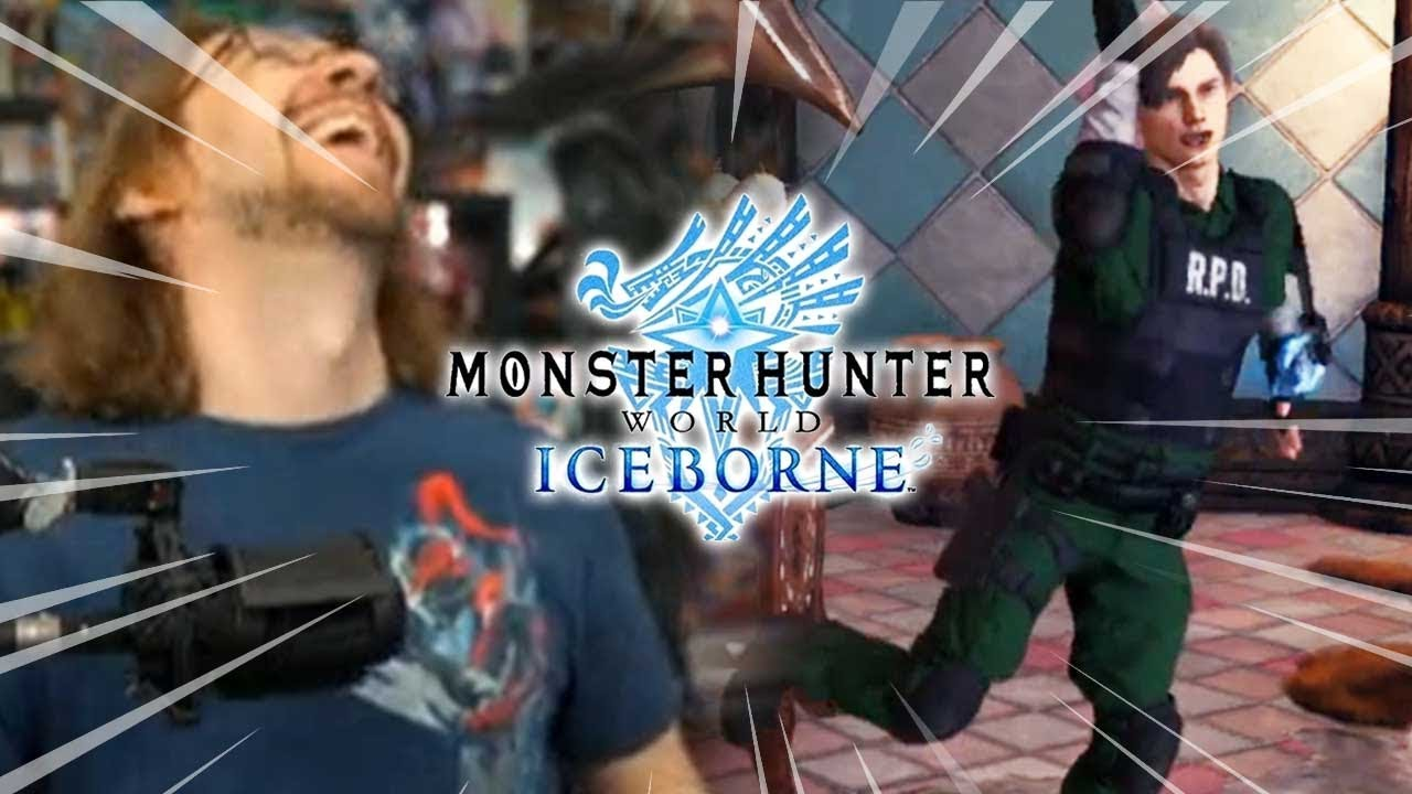 WHAT ARE YOU DOING LEON?! RE2 X Monster Hunter World thumbnail