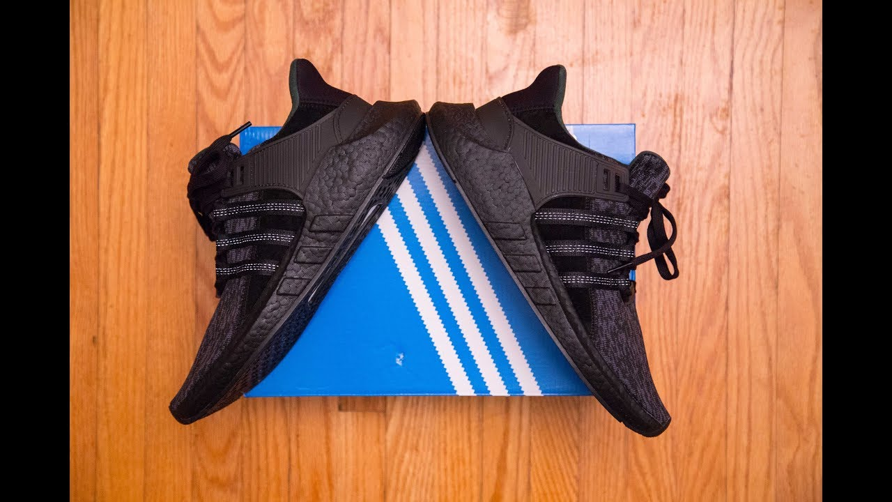 brand new ec060 b3fd8 The first black boost of this model || Adidas Equipment 'EQT' Support 93/17  Triple Black Review