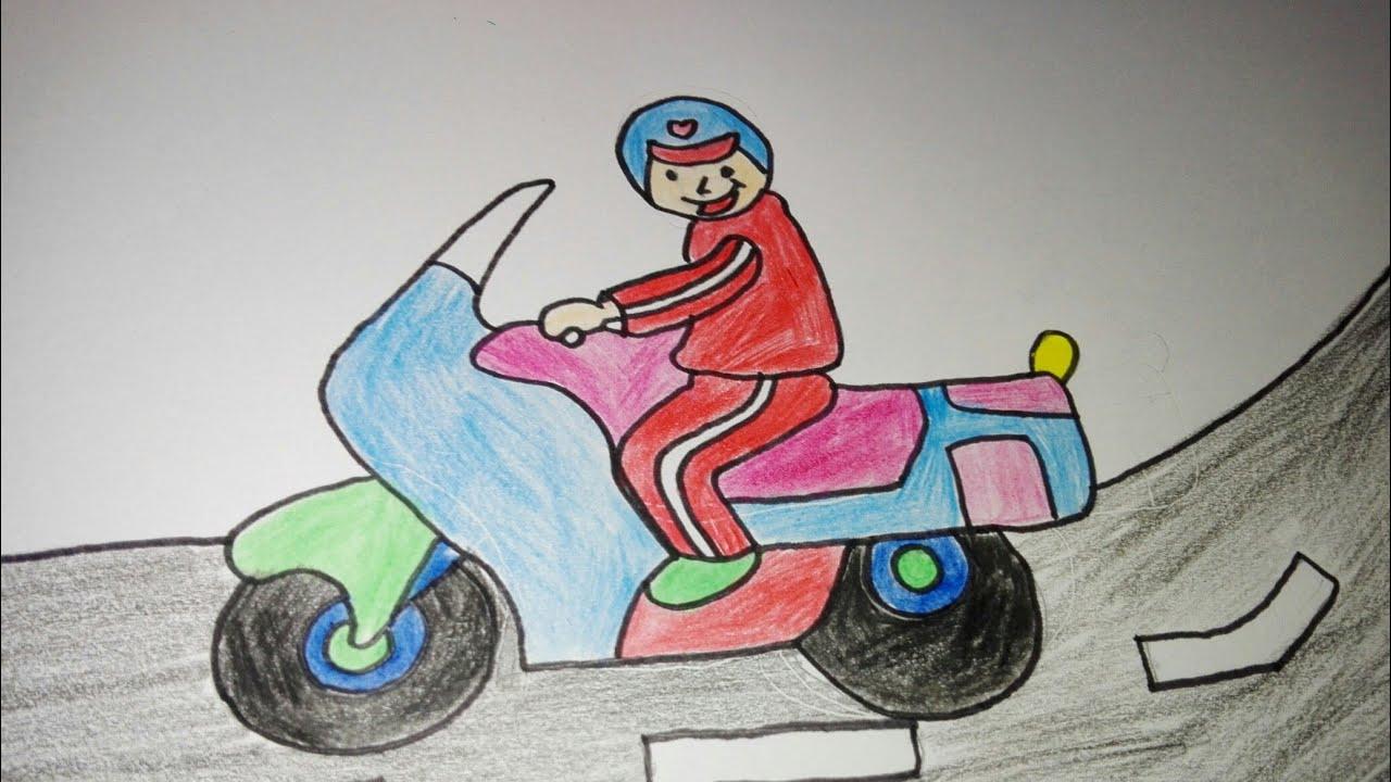 """Menggambar dan mewarnai """"orang yang mengendarai sepeda motor"""""""