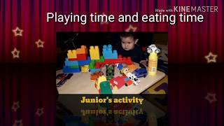 Kid in his daily activities Playing and eating