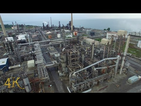 Mississauga: Aerial drone view of Clarkson Oil Refinery on Lake Ontario