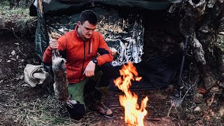 3 Days Solo Wiฑter Hunting Survival - Primitive Hare Trapping and Roasting Bushcraft