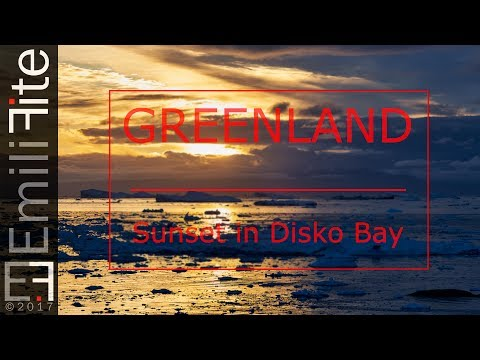 Sunset panorama in Disko Bay (Greenland). Full HD