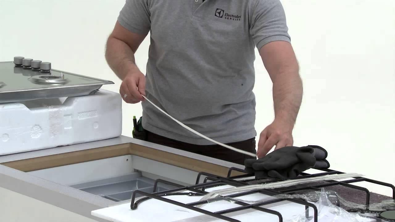 схема монтажа газовой варочно панели в столешнице
