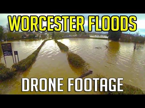 Worcester floods February 2014 - drone dji phantom 2, aerial helicam