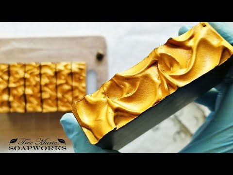 Charcoal Soap With Gold Textured Top, Narrated Cold Process Soap Making (Technique Video #14)