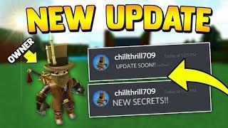 CHILLTHRILL *REVEALS* NEW UPDATE!! | Build a boat for Treasure ROBLOX