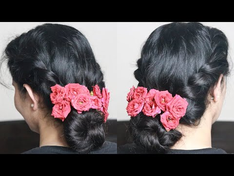 Messy Bun With Twist And Roses | Bun Hairstyle For Festivals, Weddings