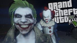 "The Joker VS IT ""Pennywise"" Clown MOD (GTA 5 PC Mods Gameplay)"