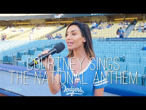 Courtney Sings the National Anthem at a Dodger's Game