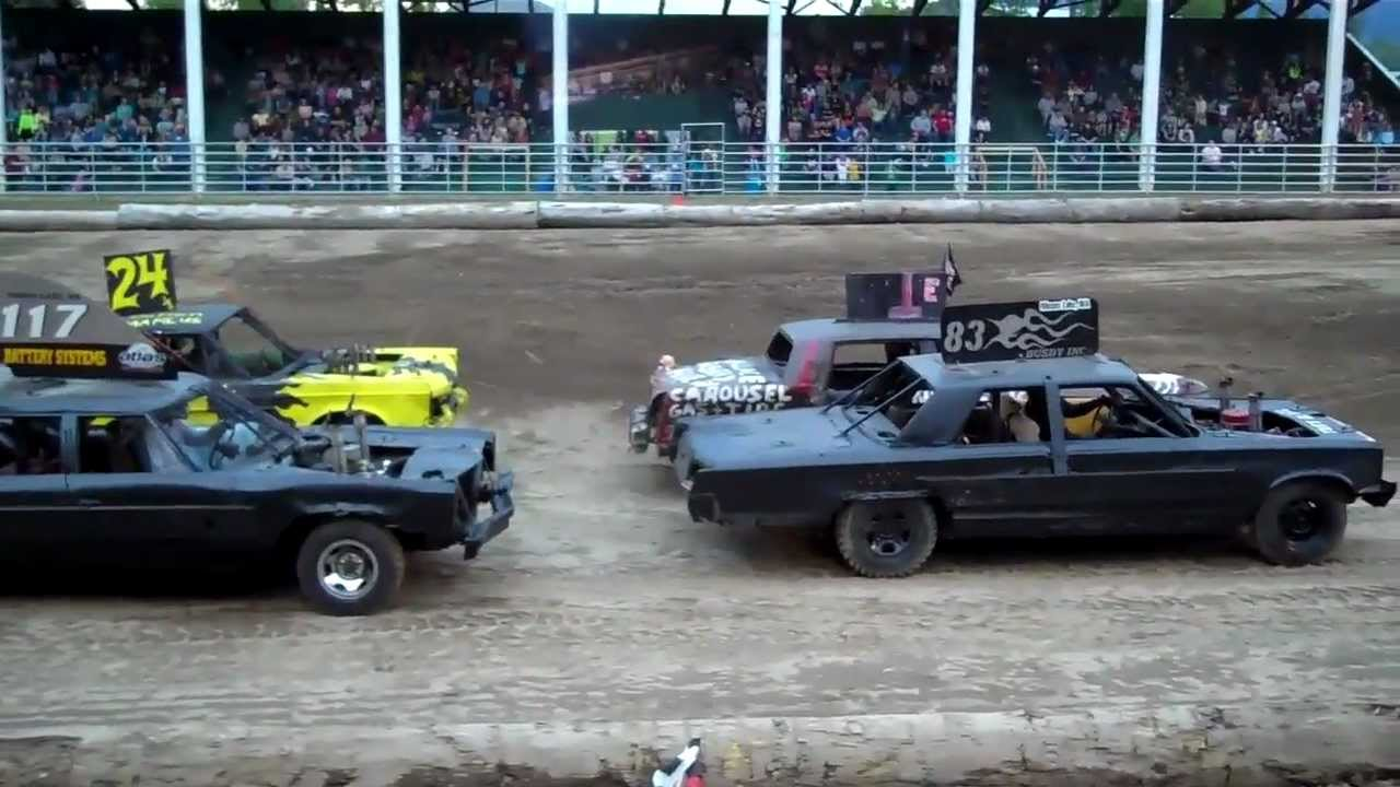 demolition derby dirt track racing  sandpoint idaho 2012