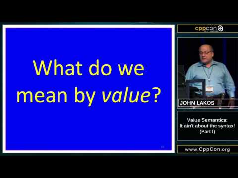 "CppCon 2015: John Lakos ""Value Semantics: It ain't about the syntax!, Part I"""