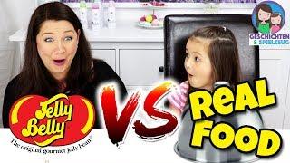 GUMMY FOOD vs. REAL FOOD - Jelly Bean Edition! Geschichten und Spielzeug