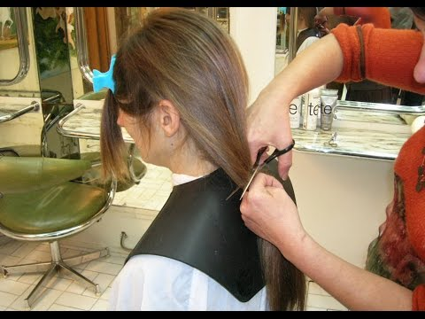 Woman With Very Long Hair Getting a Very Short Haircut