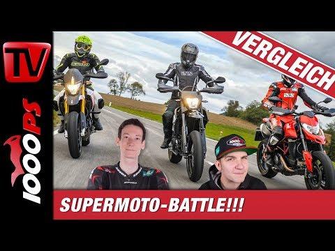 Supermoto Vergleichstest - Ducati 950 Hypermotard // Aprilia Dorsoduro 900 // KTM 690 SMC-R  2019