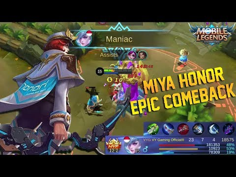 MIYA HONOR Skin Gameplay And Build | Almost Savage Kills And Epic Comeback - Mobile Legends