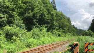 2020.8.10 JR陸羽東線 堺田〜赤倉温泉間 松根街道踏切 ありがとうリゾートみのり9777D