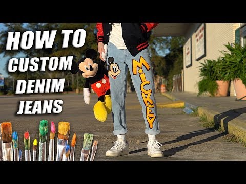 How To Custom Paint Denim Jeans! Mickey Mouse Tutorial | DIY