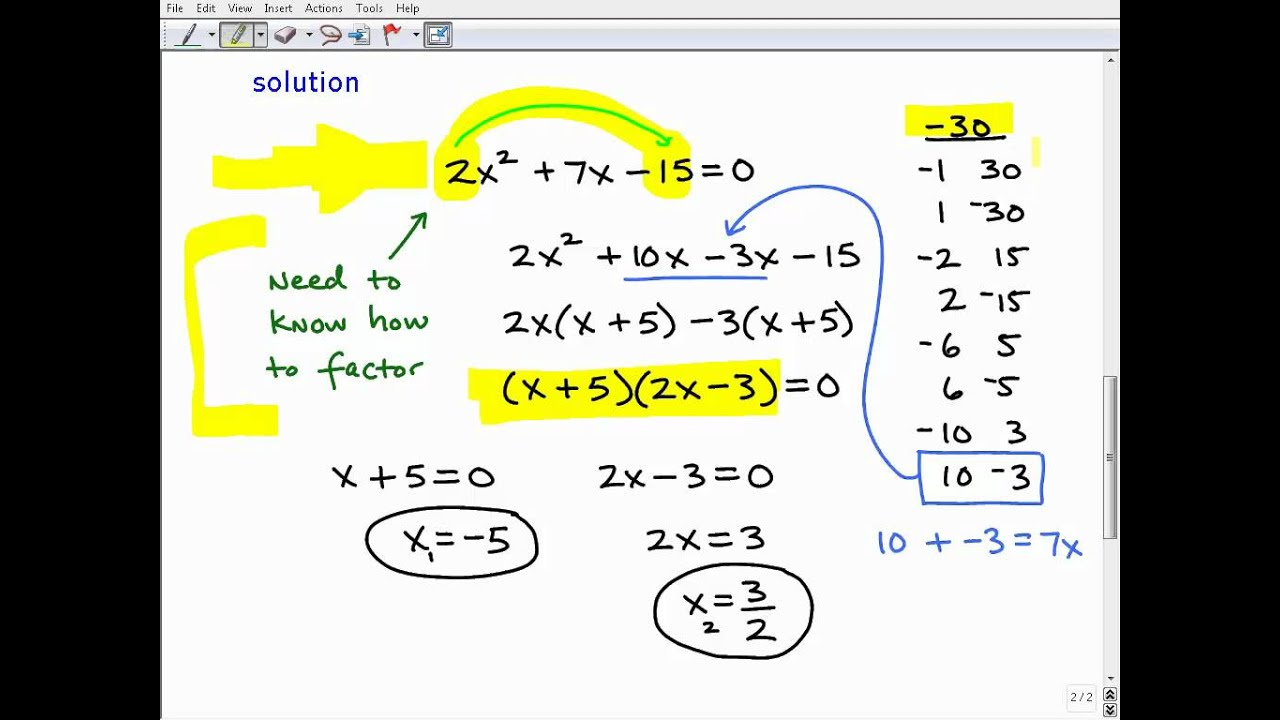 Homeschool Math Practice Solve Quadratic Equations By Factoring Quiz ...