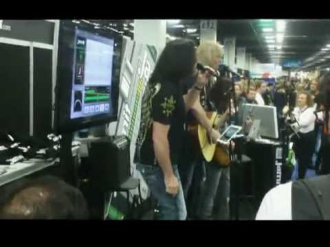 """2013 NAMM: Tommy DeCarlo & David Victor of Boston perform """"Rock and Roll Band"""""""