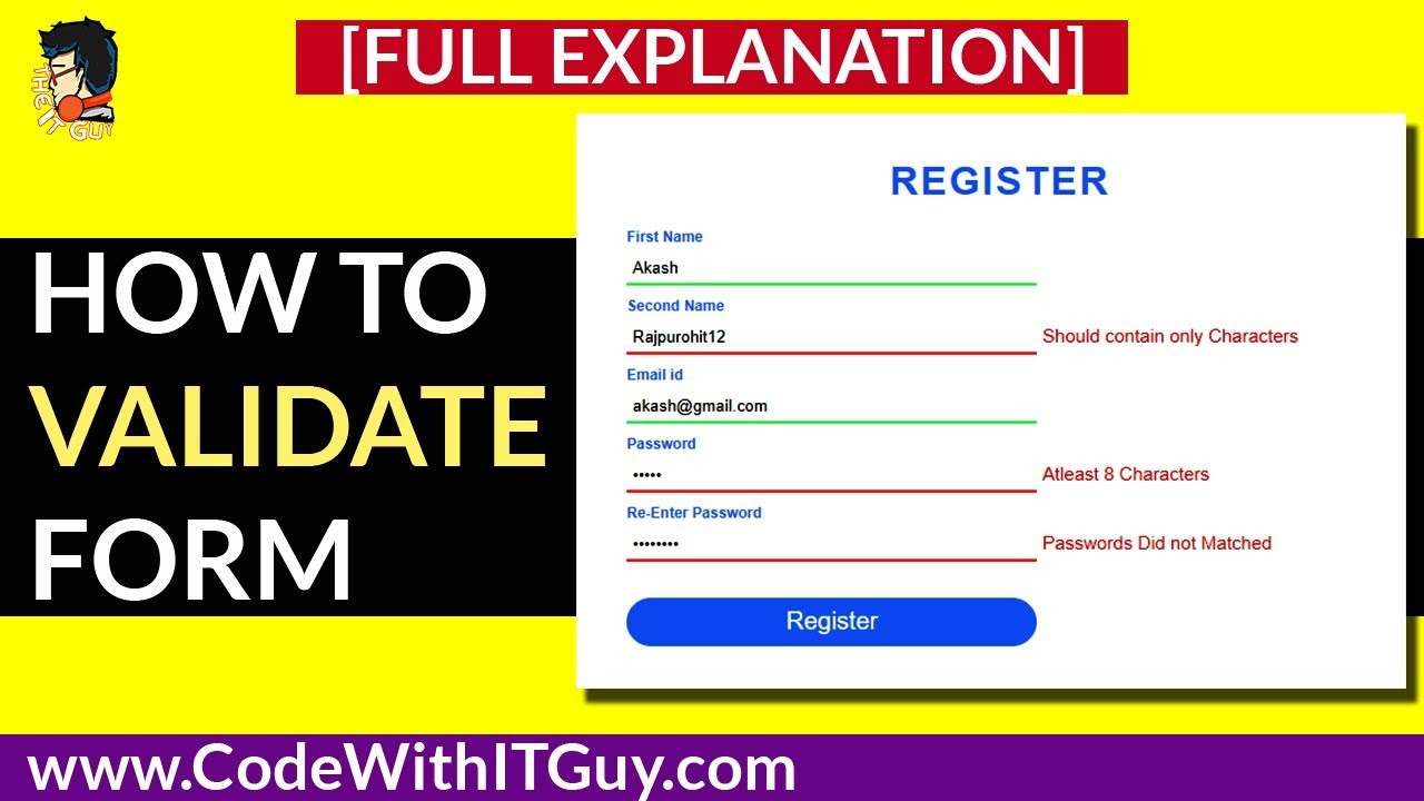 How to Validate form using jQuery | Easy Validation in 8 minutes |  Validation 2018 by theitguy