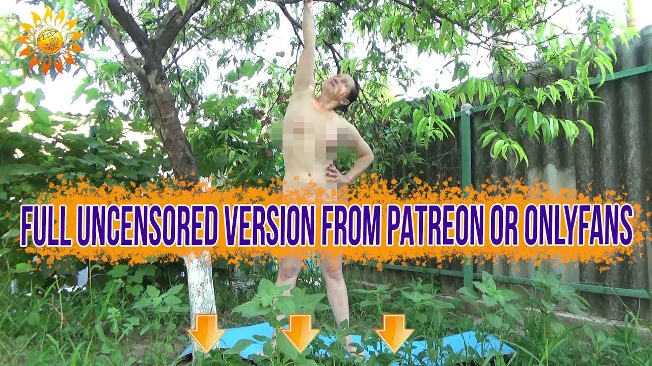 Morning exercises in the garden.  Naturist. Nudist. INF. Mila naturist.