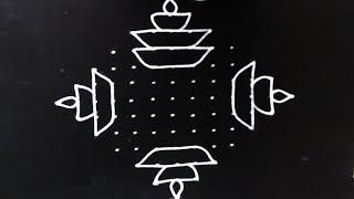 Simple rangoli designs with 13X1 dots | Big deepam rangoli designs | simple kolam | telugu muggulu