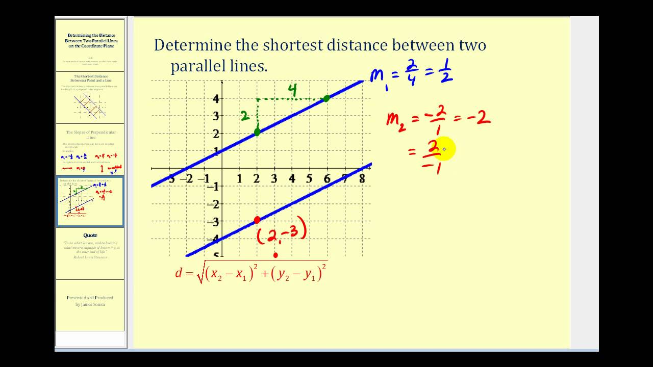 Determining the Distance Between Two Parallel Lines - YouTube