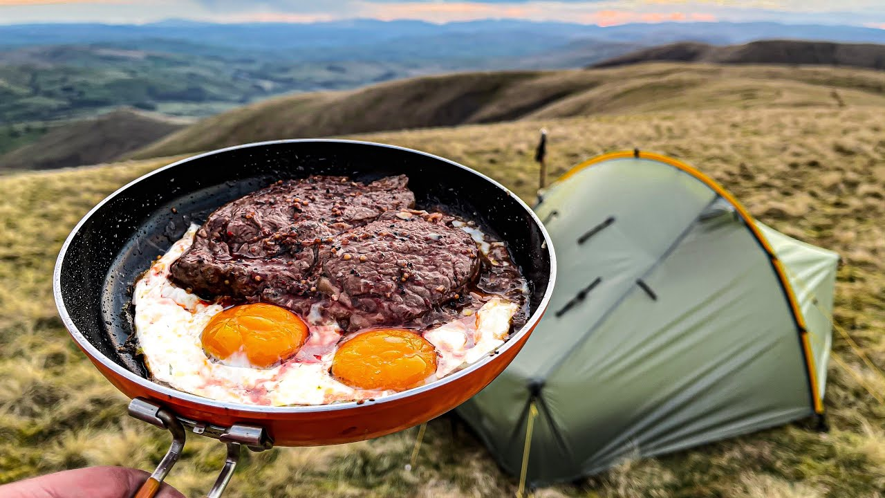 Solo CAMPING & cooking Steak And Eggs on a mountain