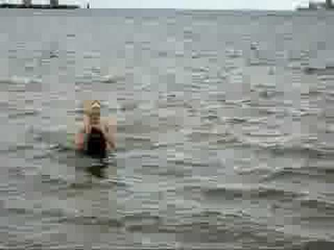 Bev Fair Freezing Pensacola Bay Swim Pirate Swimming