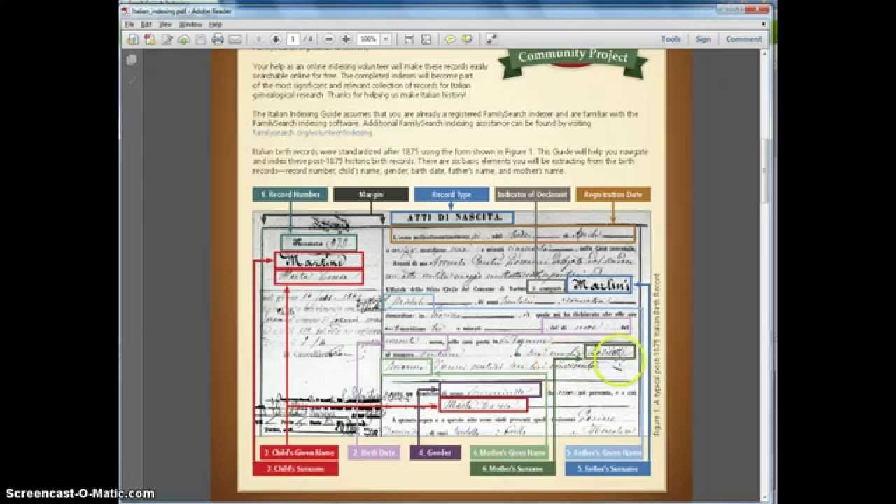 Indexing Italian Birth Records - Family Search Indexing