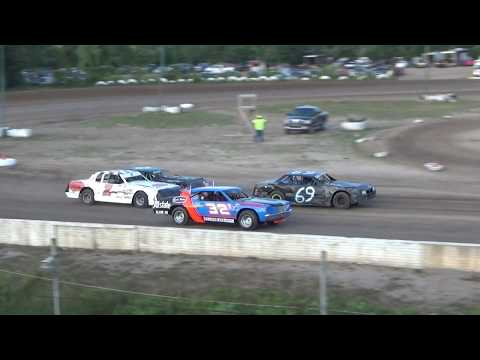 Street Stock Heat Race #1 at Mt. Pleasant Speedway on 07-27-2018.