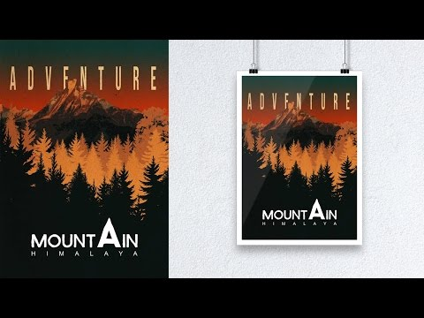 Photoshop Tutorial How to Create Classic Poster Mountain