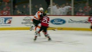 Flyers' Gudas smashes into Palmieri, multiple fights ensue