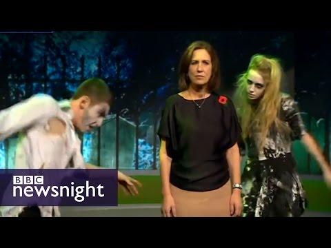 Kirsty Wark dances Thriller in Halloween playout - BBC Newsnight