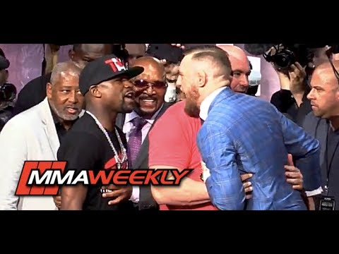 Thumbnail: Conor McGregor Pulled Away from Floyd Mayweather by Dana White at World Tour Toronto Face-Off