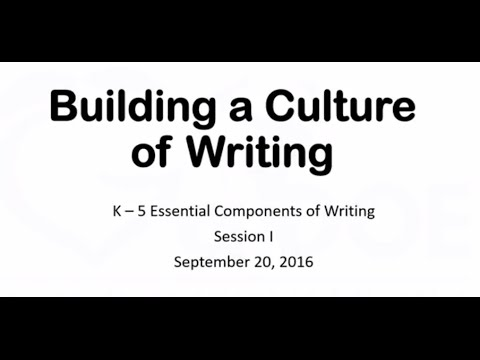 Essential Components of Teaching Writing - K-5 Session 1 - YouTube