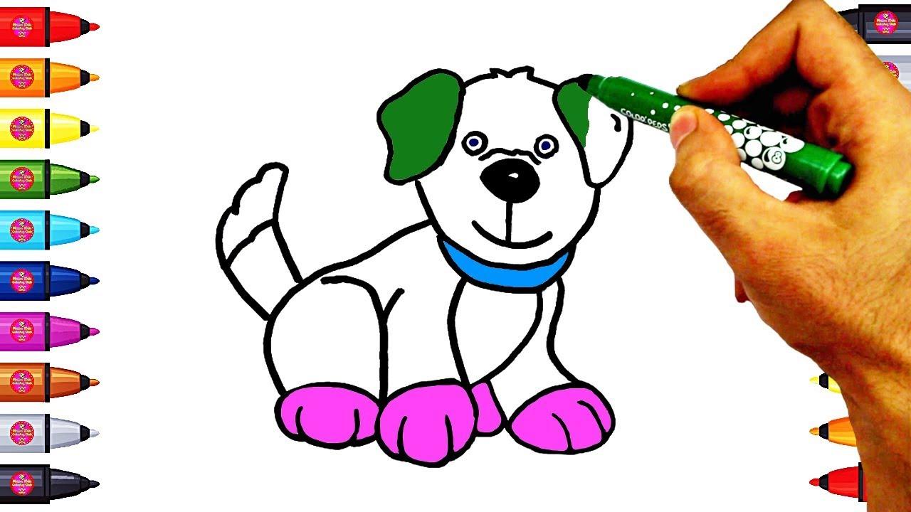 Köpek çizim Ve Boyama Köpek Nasıl çizilir Youtube