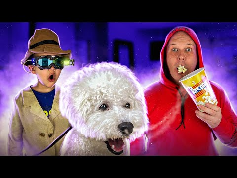 Pretend play Detective and dogy try to find the popcorn