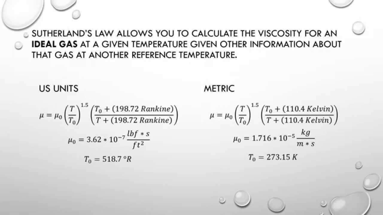 Sutherland Law  Determine Viscosity From Temperature