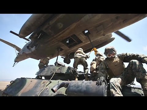 U.S. Marines SPECTACULAR Airlifting: CH-53E Helicopter Airlifts LAV-25 Light Armored Vehicle